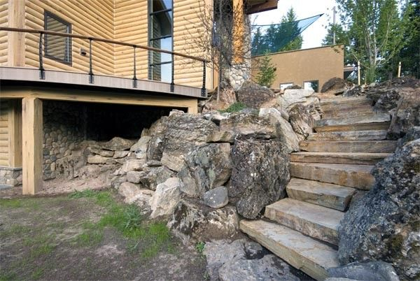 Beautiful Mountain Home Made Modern With Cable Railings Deck Stairs Deck Stair Railing | Installing Railing On Stone Steps
