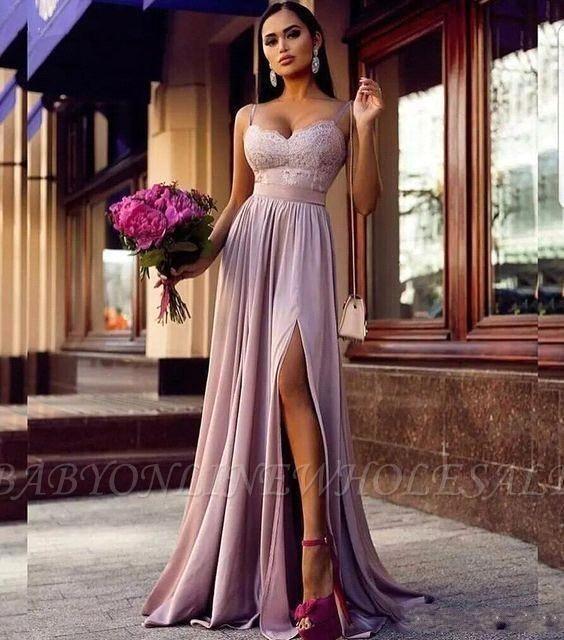 Moderne Lila Abendkleider Bodenlang | Schlichte Abendmode ...