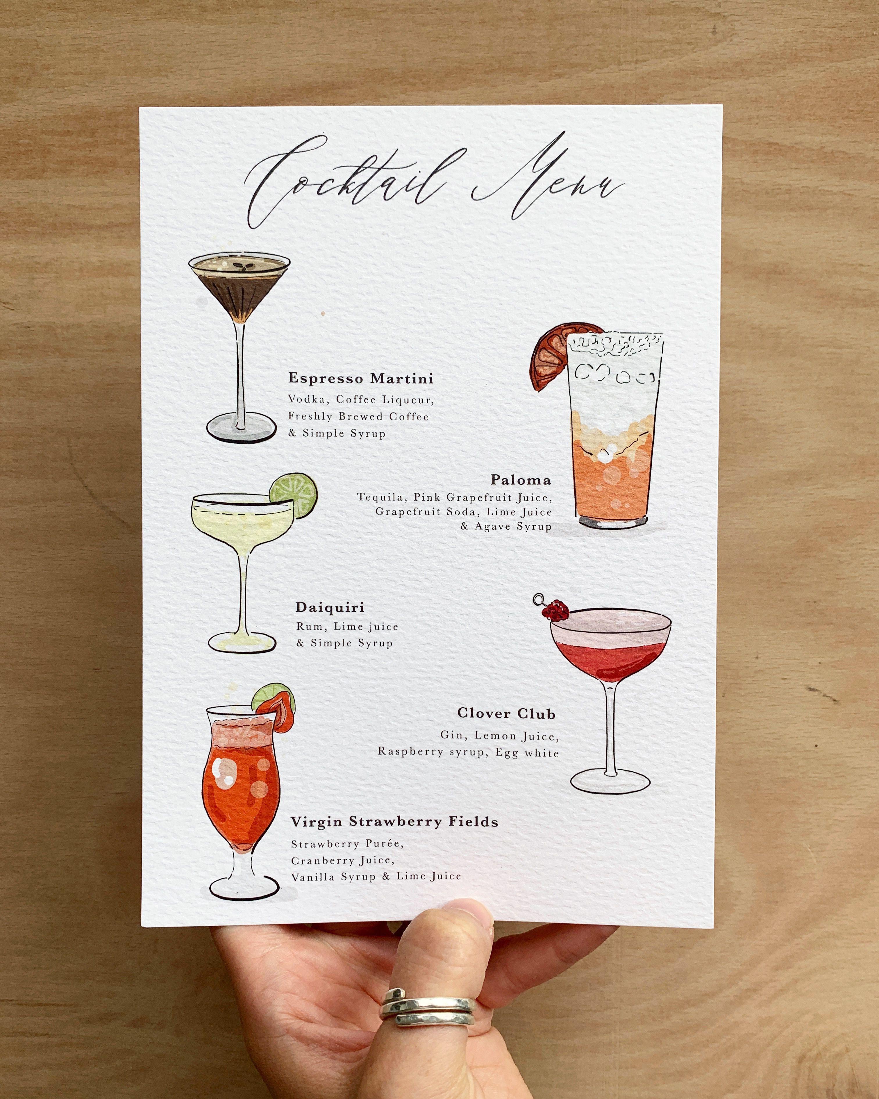 Cocktail Menu In 2021 Cocktail Menu Wedding Cocktail Menu Menu Illustration