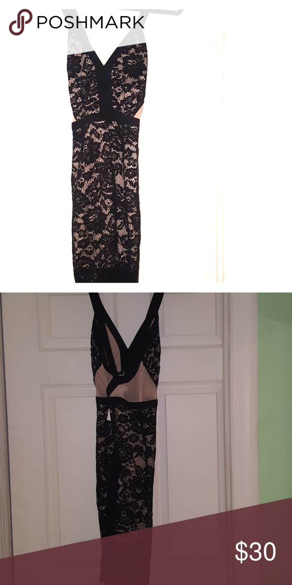 32fc6117e9b1 Lush - Beautiful lace cocktail dress🖤 🌟NEVER WORN!🌟Black and tan dress.  ✴Sexy and fitted. ✴Black lace with tan mesh side cutout's.