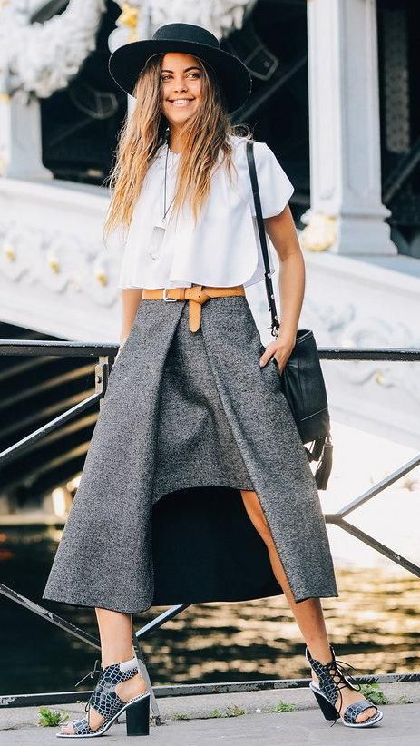 Gray wool skirt, camel belt, white top, black purse