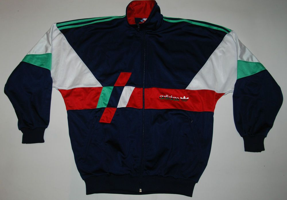 d1ef805458ea VINTAGE ADIDAS TRACKSUIT TOP JACKET BLUE WHITE GREEN RED SHINE UK 38 40 USA  S M