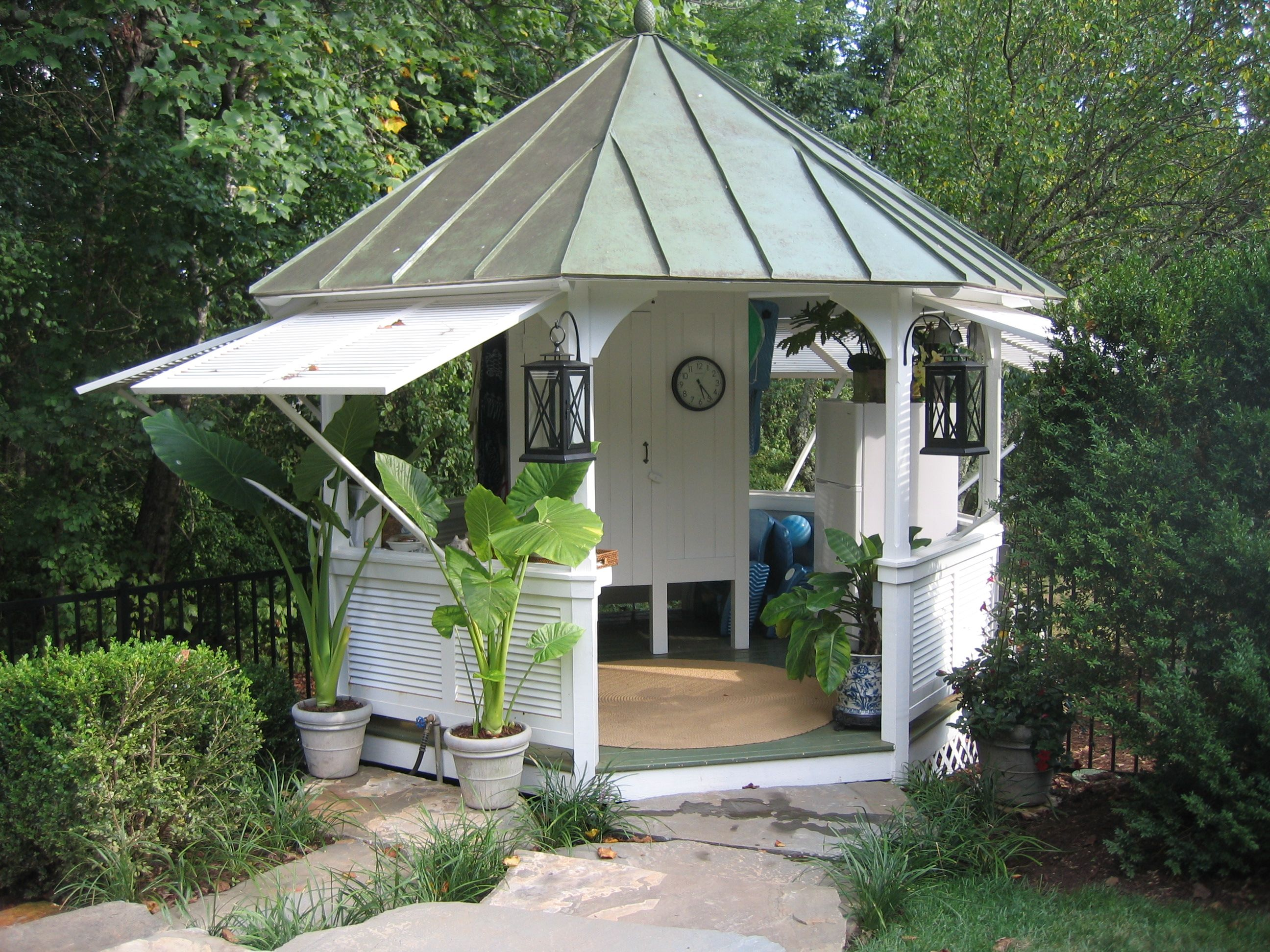 Steel Roof Gazebo With Push Out Shutters
