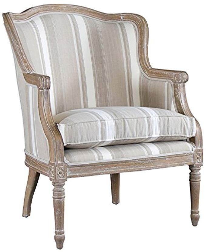 Baxton Studios Charlemagne Accent Chair Oak: Baxton Studio Striped Charlemagne Traditional French