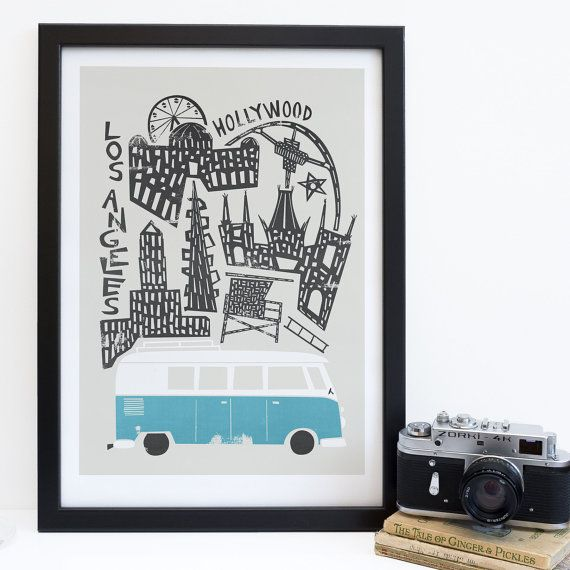 Los Angeles City Print Camper Van ville affiche LA Californie Art