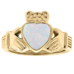 Opal Birthstone Heart Irish Claddagh Symbol Wedding Ring in Yellow Gold  Opal Birthstone Heart Irish Claddagh Symbol Wedding Ring in Yellow Gold