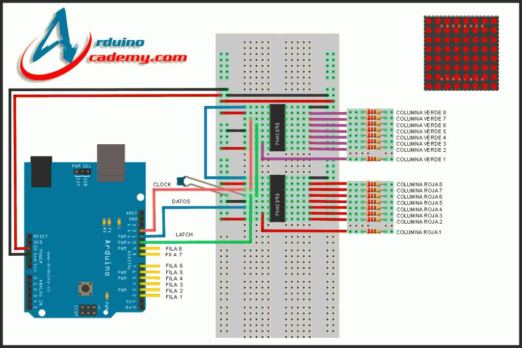 Matriz LED 8x8 Bicolor + 74CH595 con ARDUINO | Projet 01 | Arduino, Led