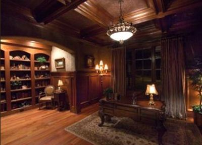 Wainscoting And Coffered Ceiling Library Study