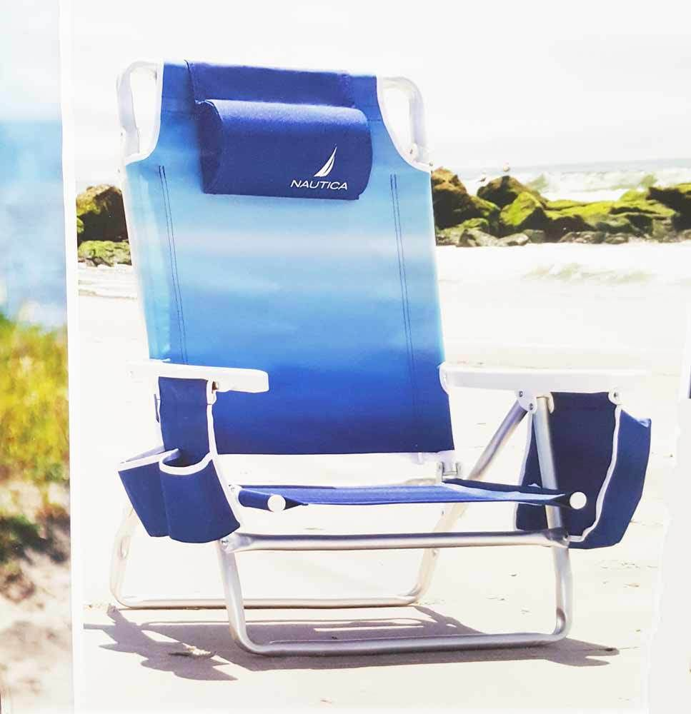 Nautica New 2016 Adjustable Beach Chair With Cup Holder