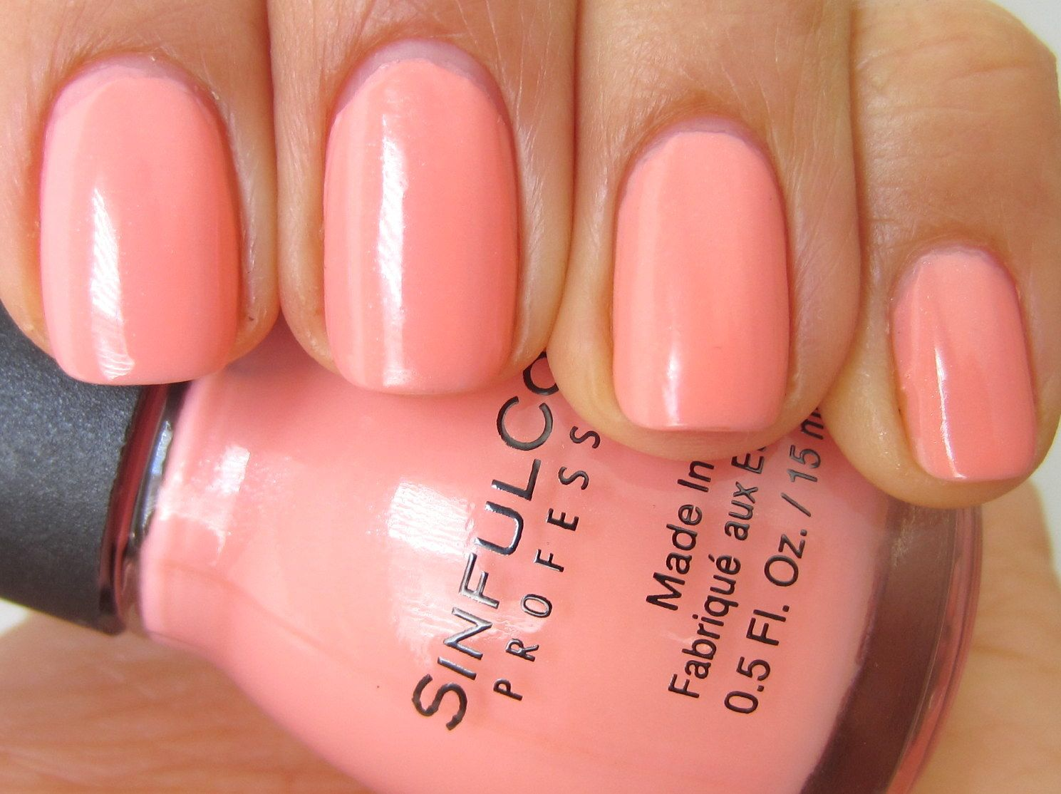 Sinful Colors Orange Cream Light Pink Acrylic Nails Pink