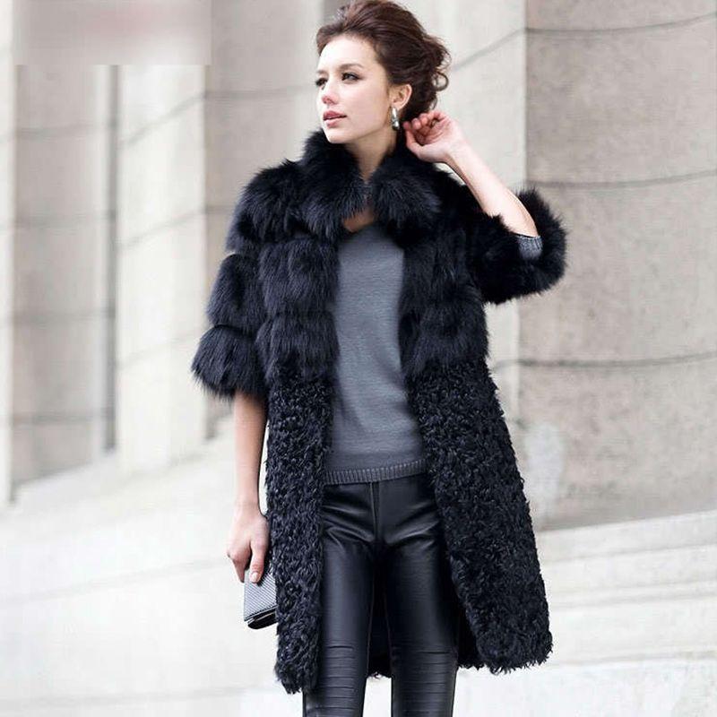 a265c8b96f1ac New Natural Fox Fur Coat Women s Lady Winter Long Real Lamb Fur Jackets  Genuine Furs Outerwear
