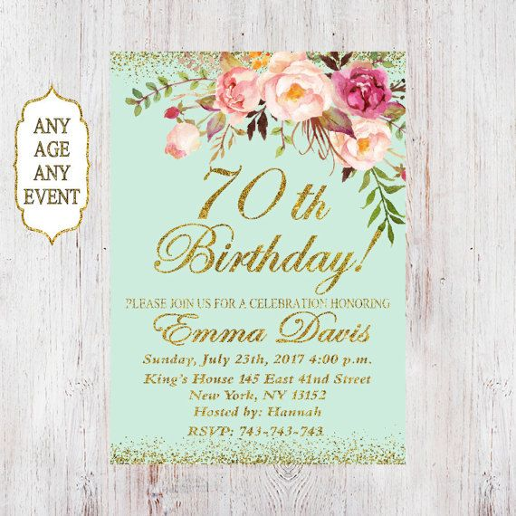 70th Birthday Invitation Any Age Women Floral Mint 4