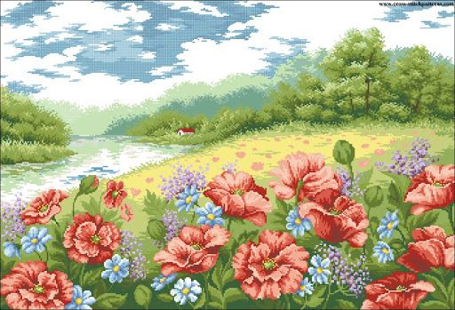 The Poppies Field 4108 - Counted cross stitch patterns and charts