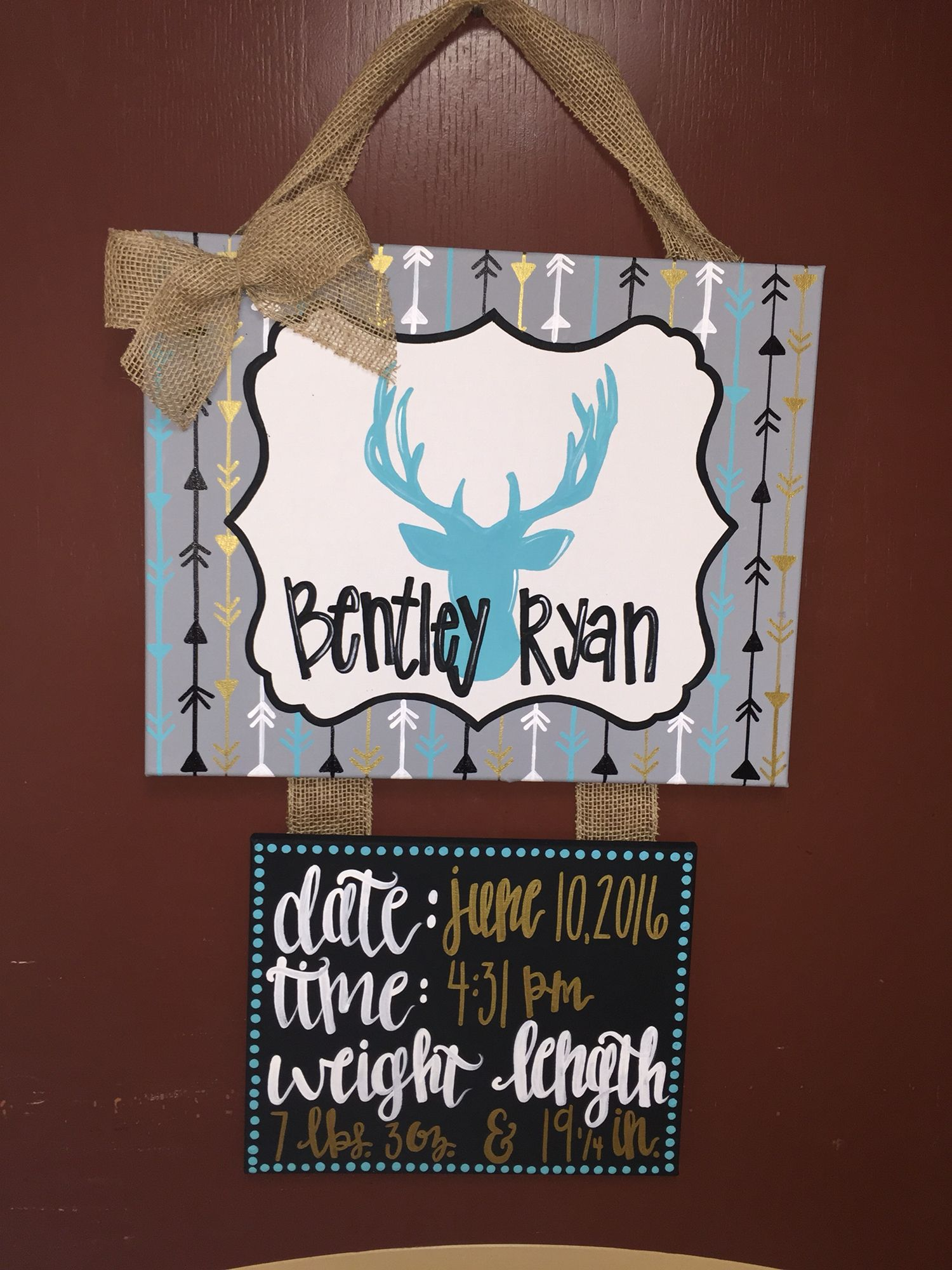 Baby Boy Birth Announcement Door Hangers : birth, announcement, hangers, Hospital, Hanger, Birth, Stats,, Canvas, Painting,, Deer,, Arrows., Turquoise,navy, Gold., Announcement,, Camo,, Hangers