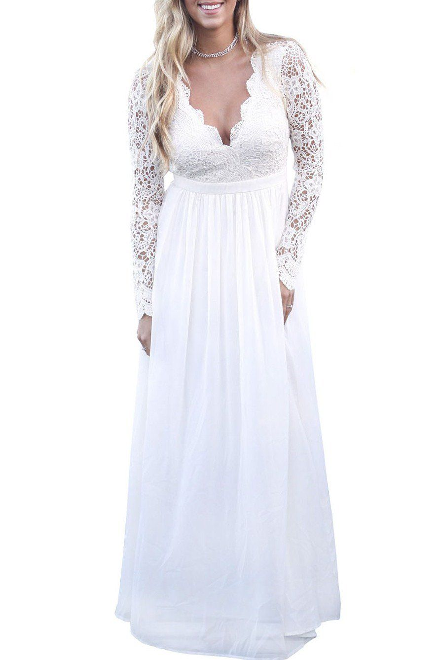 All white open back long sleeve lace crochet maxi party dress