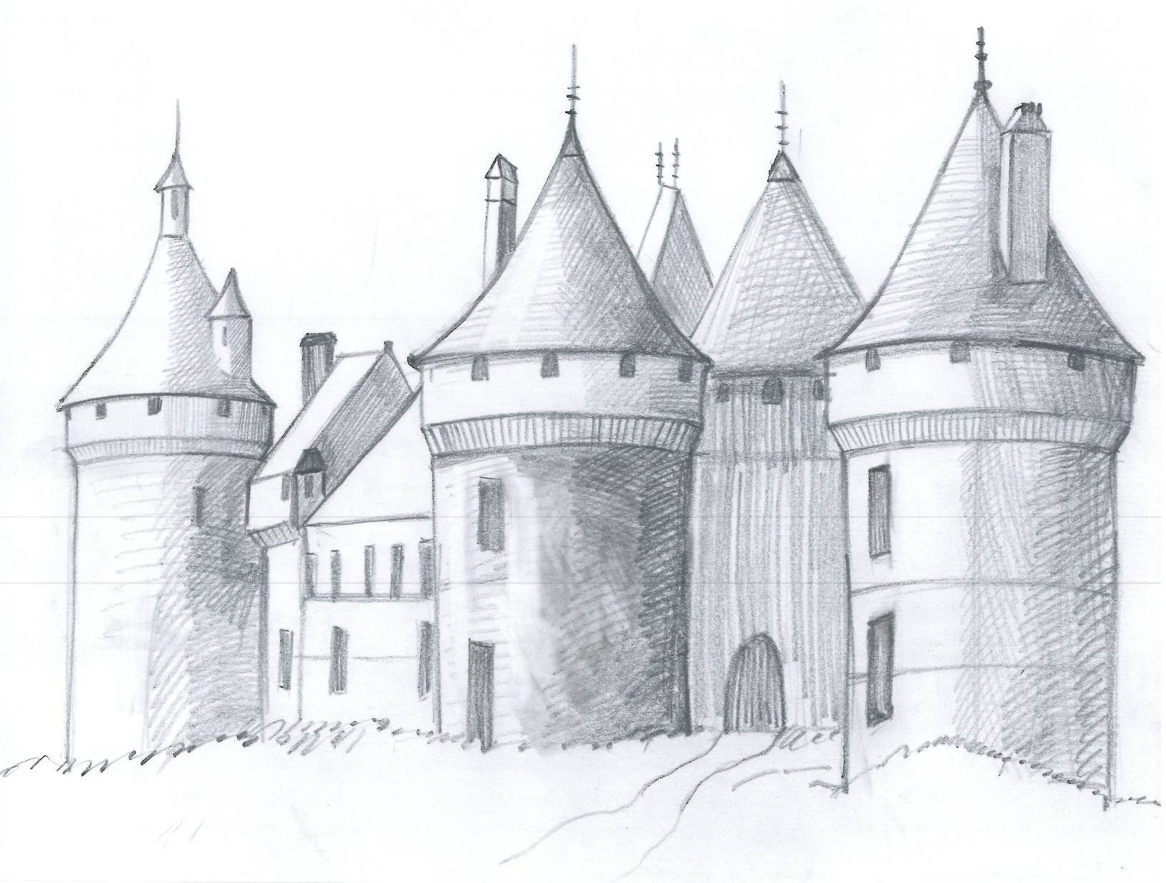 Draw a medieval castle literacy teaching resources for How to draw a two story house step by step