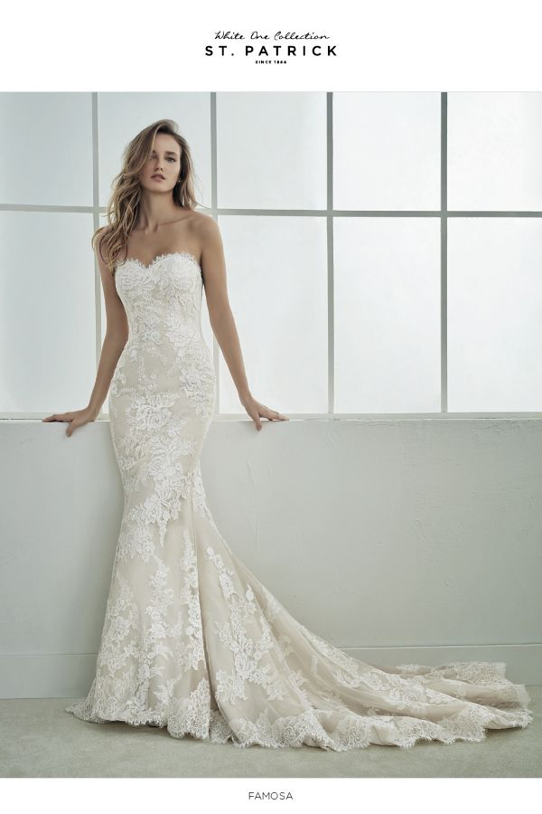 famosa dress size 10 off white/ beige | pronovias - san patrick
