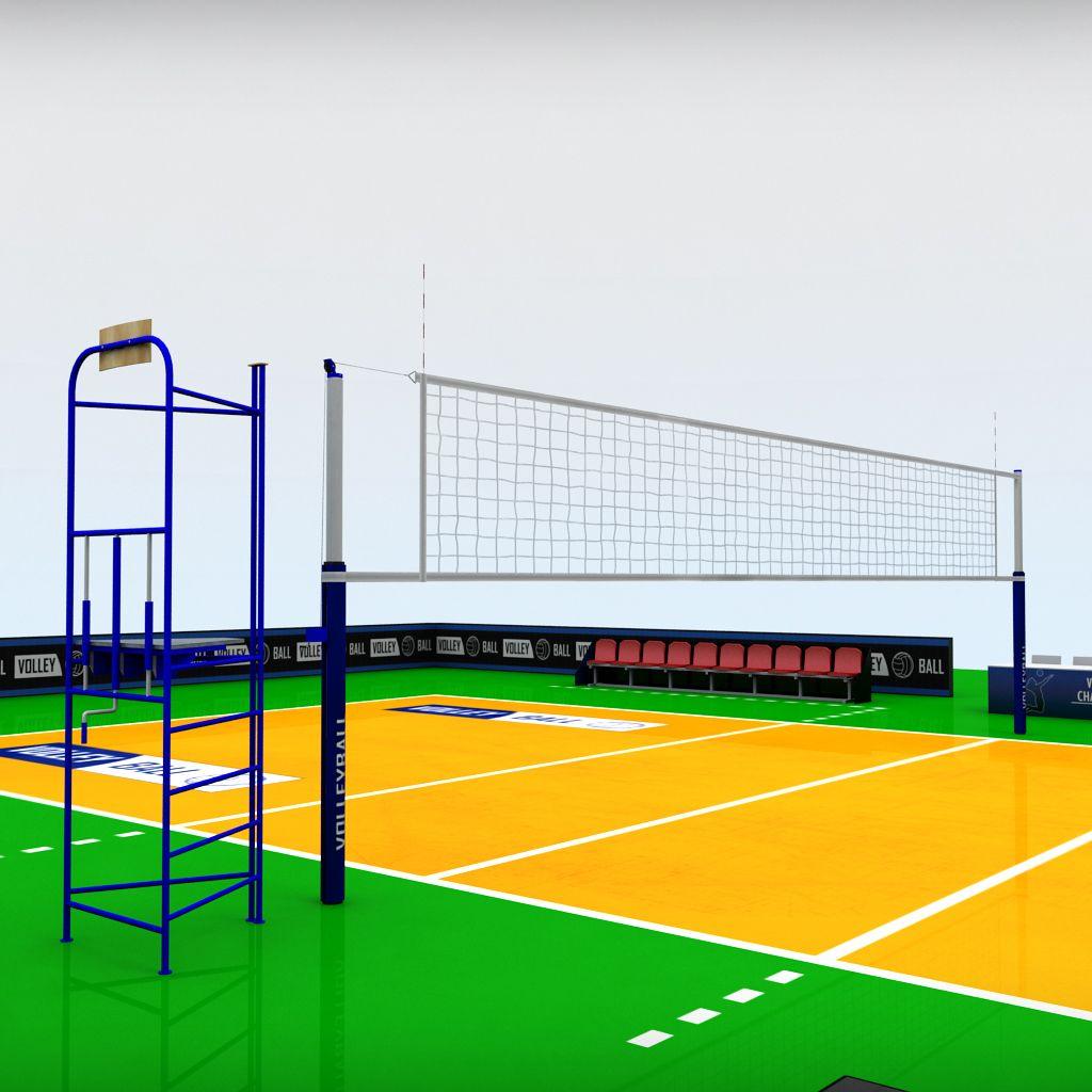 Volleyball Court High Detail Low Poly Volleyball Low Poly Volleyball Net