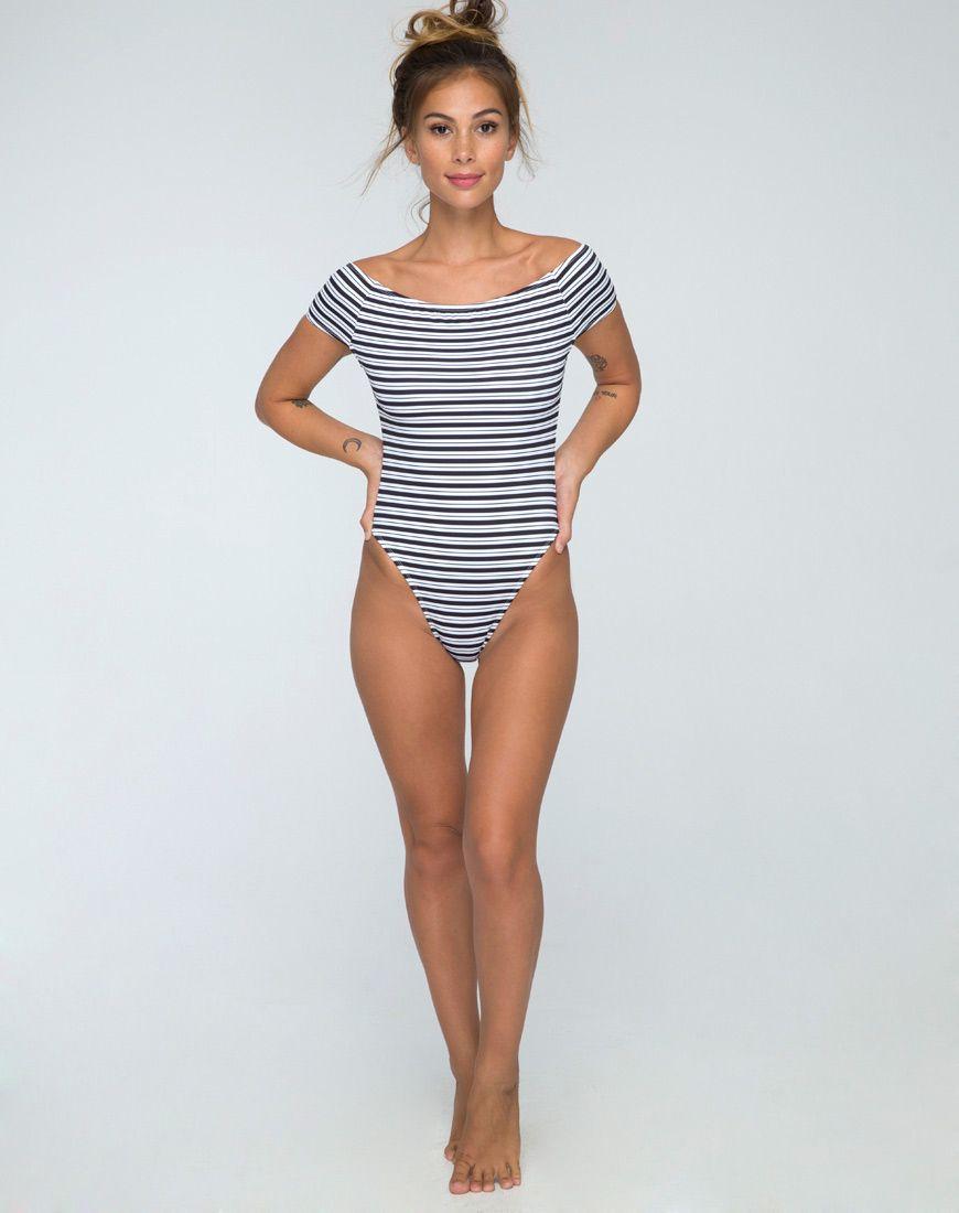 18d0c5a0d1 Cindy Off The Shoulder Swimsuit in Stripe by Motel | Swim suits ...