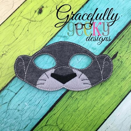 Jungle Panther Mask Embroidery Design 5x7 Hoop Or Larger border=