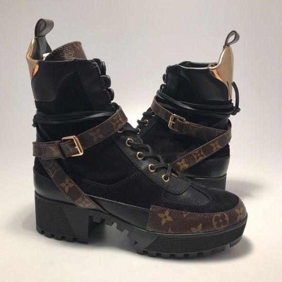 198a01bcfc8b Shop Women s Louis Vuitton Brown Gold size 11 Combat  amp  Moto Boots at a  discounted