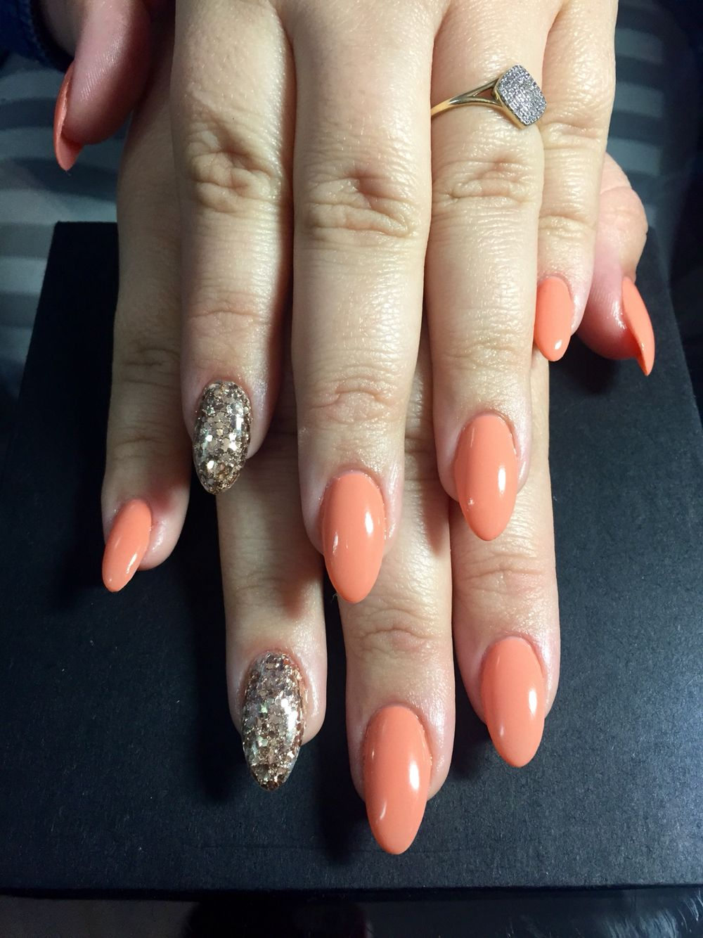 Peach and Gold long Almond Gel Nails Done by Allure Salon, Mossel ...