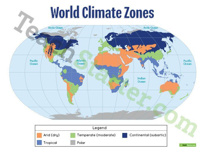 Teaching Resource: A Poster To Display In The Classroom When Locating The  Different Climates Of The World.