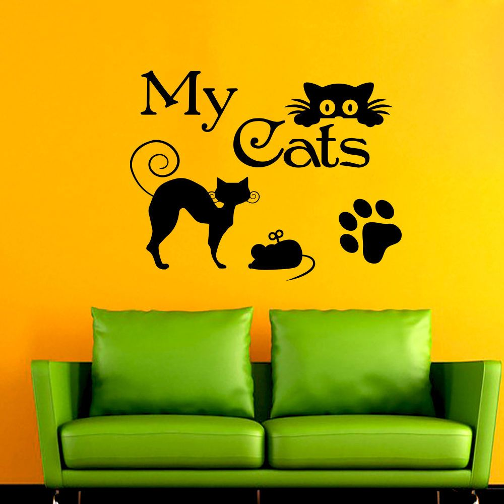Wall Decal My Cat Paw Decals Vinyl Sticker Grooming Salon Pet Shop ...