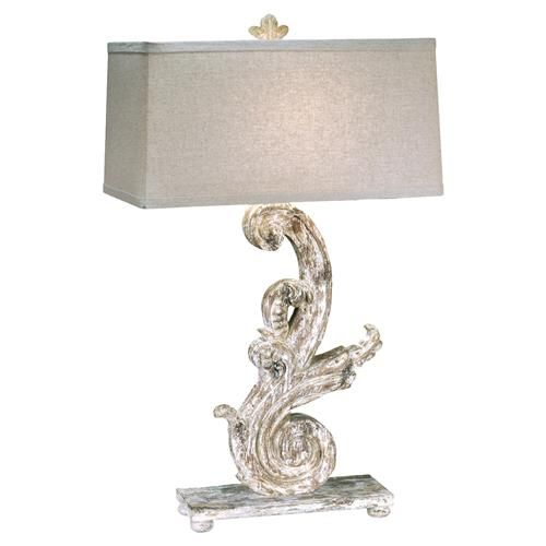 Corinna french country white wash carved scroll table lamp kathy kuo home