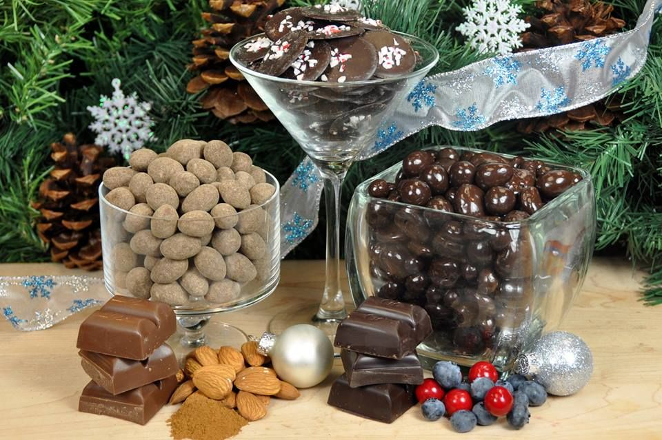 Dark Chocolate Peppemint Rounds, Dark or Milk Chocolate Cinnamon Dusted Almonds, and Dark Chocolate Fruit Collection..