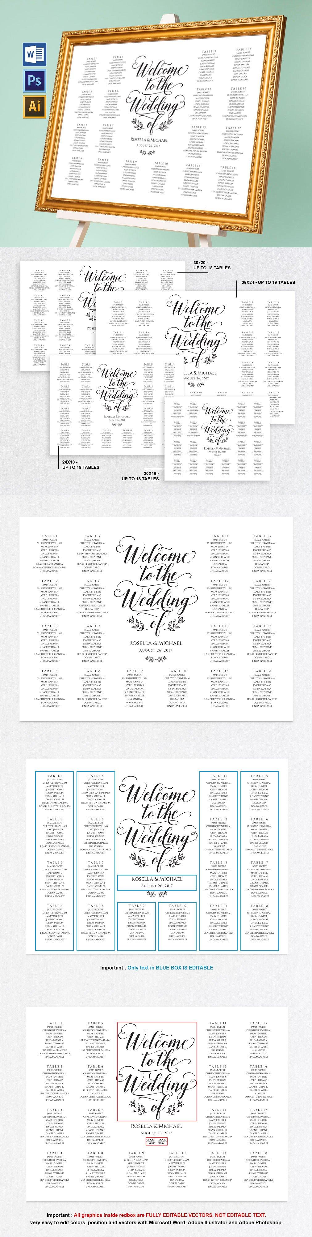 Wedding seating chart Wpc171 Template AI, EPS, PSD | Invitation ...