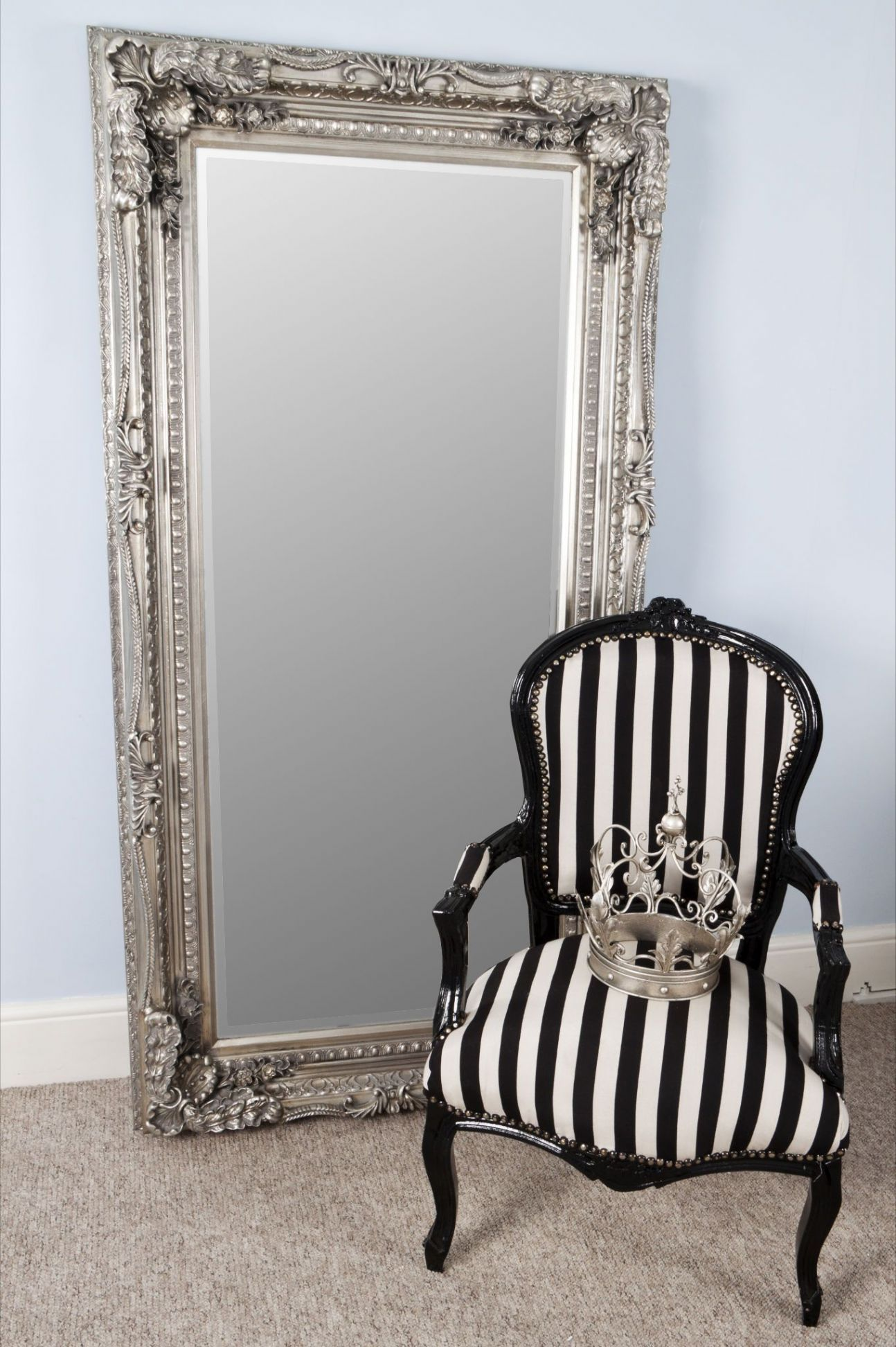 Full Length Mirror And French Corner Chair Antique Floor Mirror