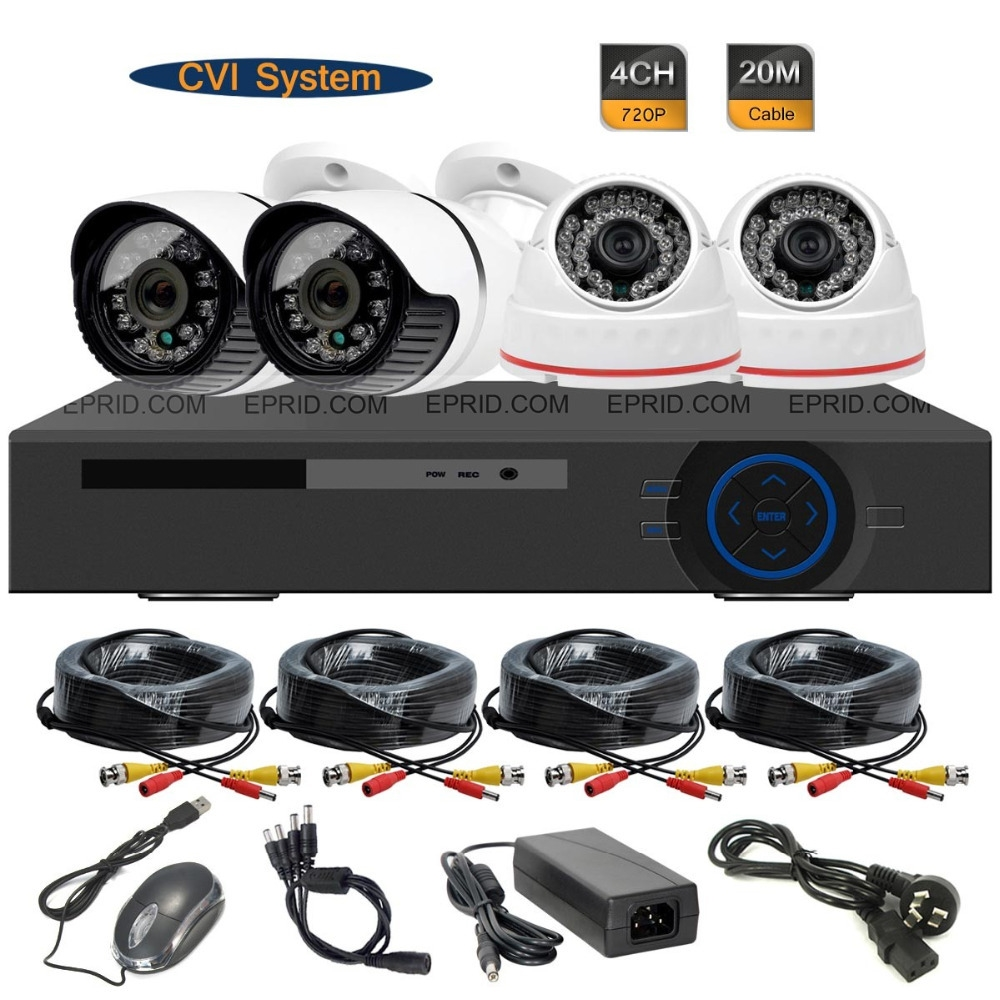 259.75$  Buy here - http://alib9a.worldwells.pw/go.php?t=32379178099 - 4CH 720P Realtime DVR 1.0MP HD-CVI Indoor Outdoor Security Camera System