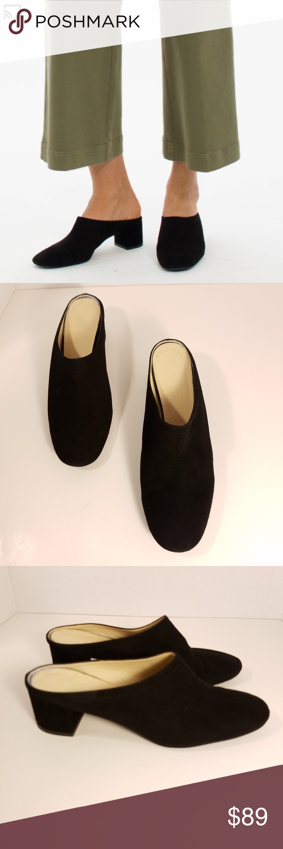 18431a62836 Everlane Black Suede The Day Heel Mule This is a pair of Everlane Black  Suede The Day Heel Mule. - Everlane states these fit true to size - Suede  leather ...