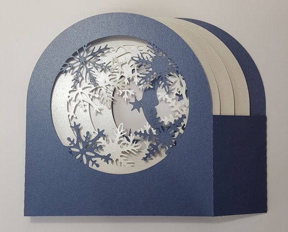 Snowflakes And Deer Shadow Box Card Template Cut Paper Cards