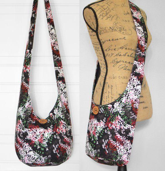 5177424dc892 Floral Crossbody Bag Hobo Bag Fabric Boho Bag Cotton Hippie Purse ...