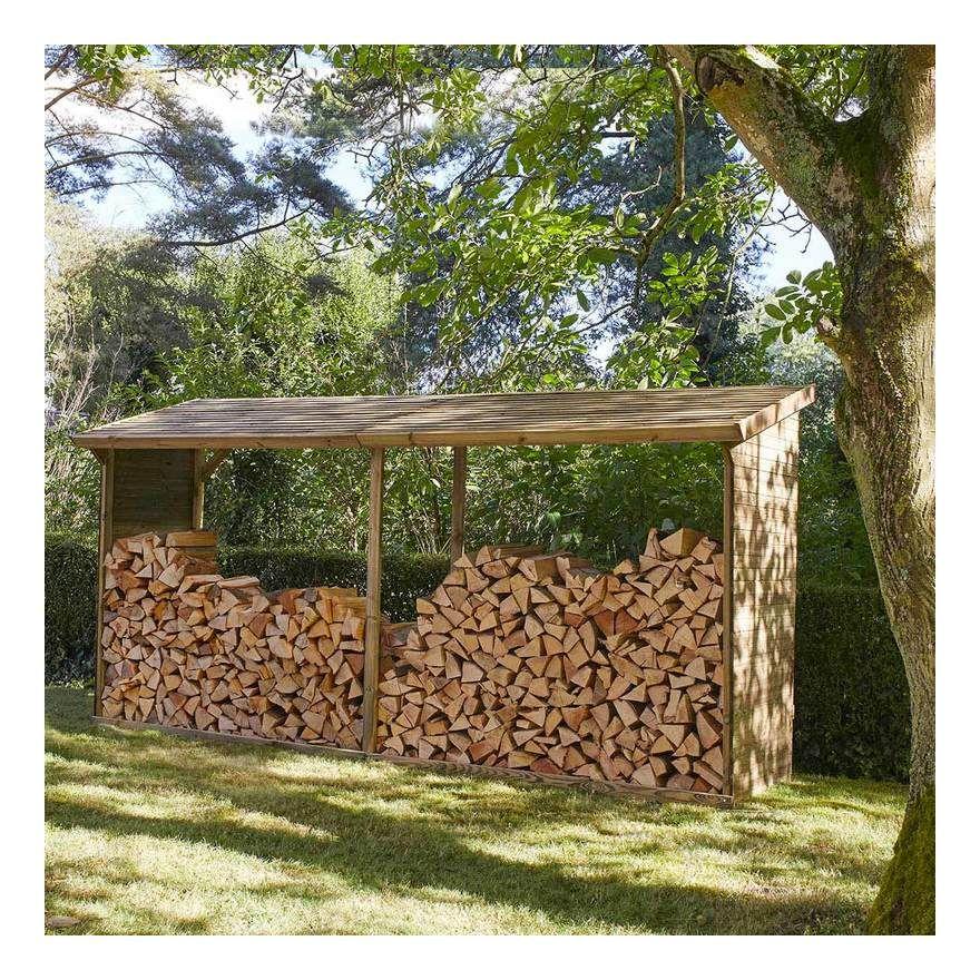 Abri A Buches En Bois Grand Format 10 Steres Mad 3269 En 2020 Range Buches Exterieur Abri De Jardin Abri