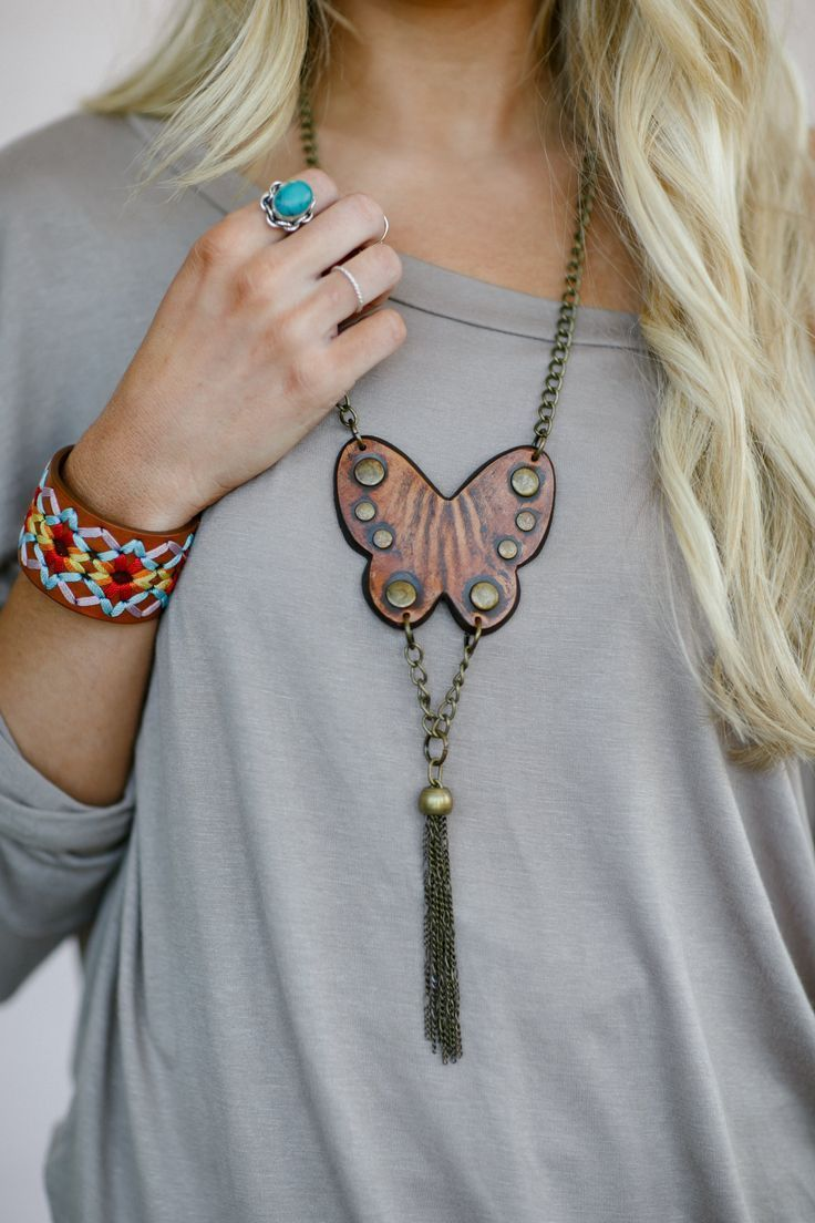 Photo of Butterfly Leather Boho Necklace