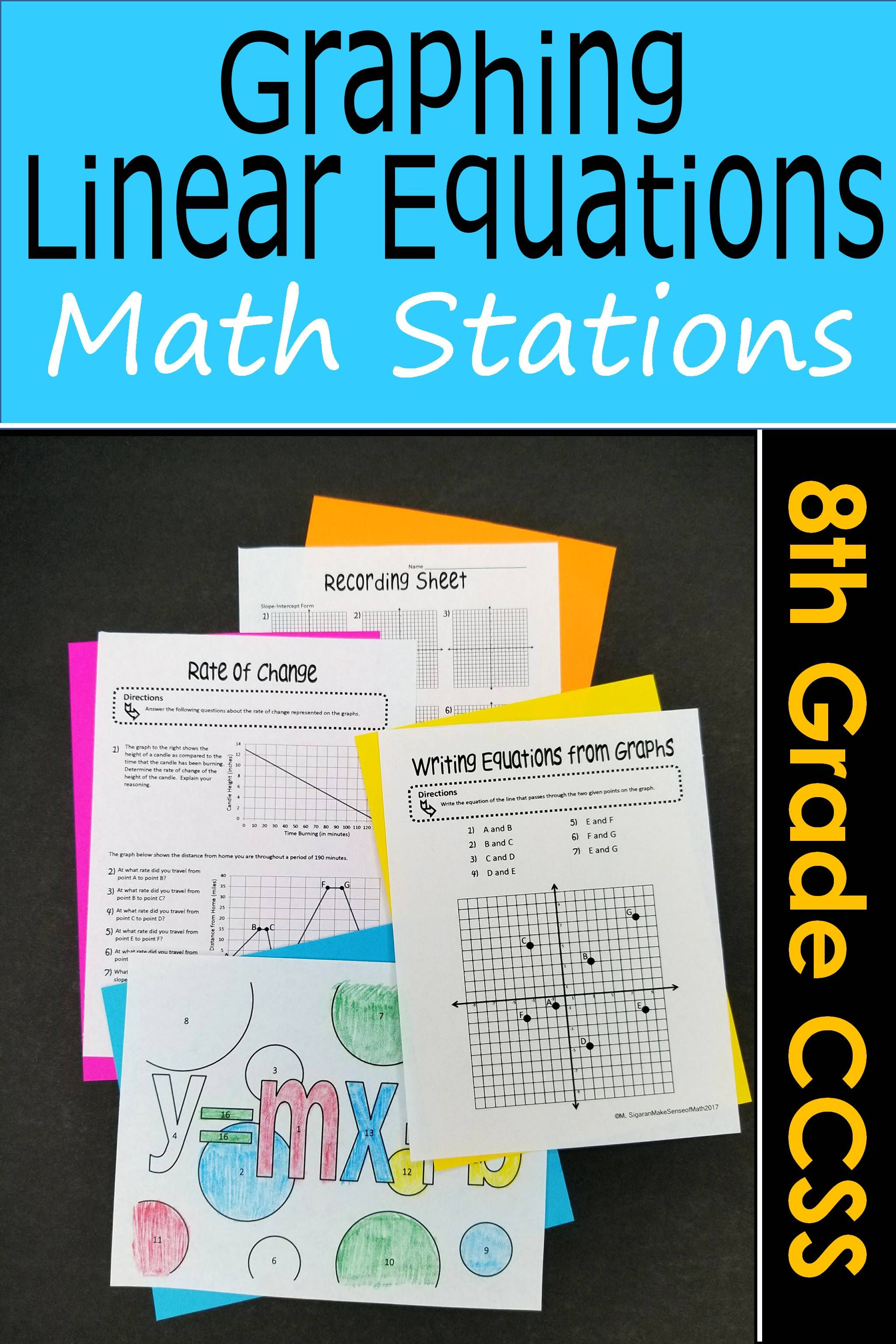 Graphing Linear Equations Math Stations : Middle School Math ...