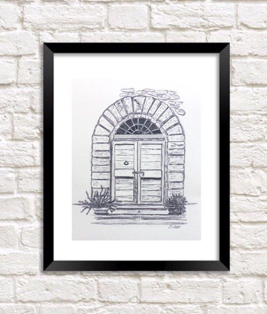 Pencil drawing door graphite sketch print of original