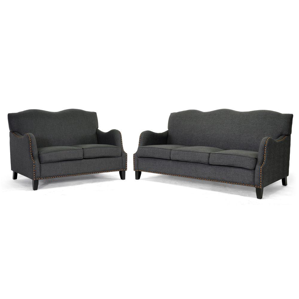 penzance dark grey linen sofa and loveseat setbaxton studio