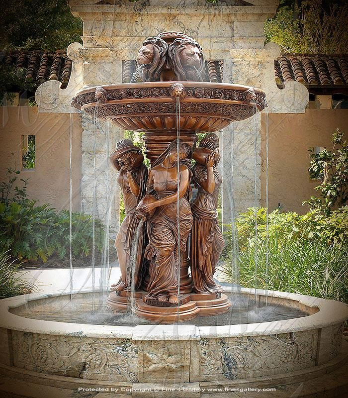 Admire The Detailed Artwork Of This Incredible Bronze Fountain Magnificent Lion Heads Pour Water Into Water Fountain Design Water Fountains Outdoor Fountains