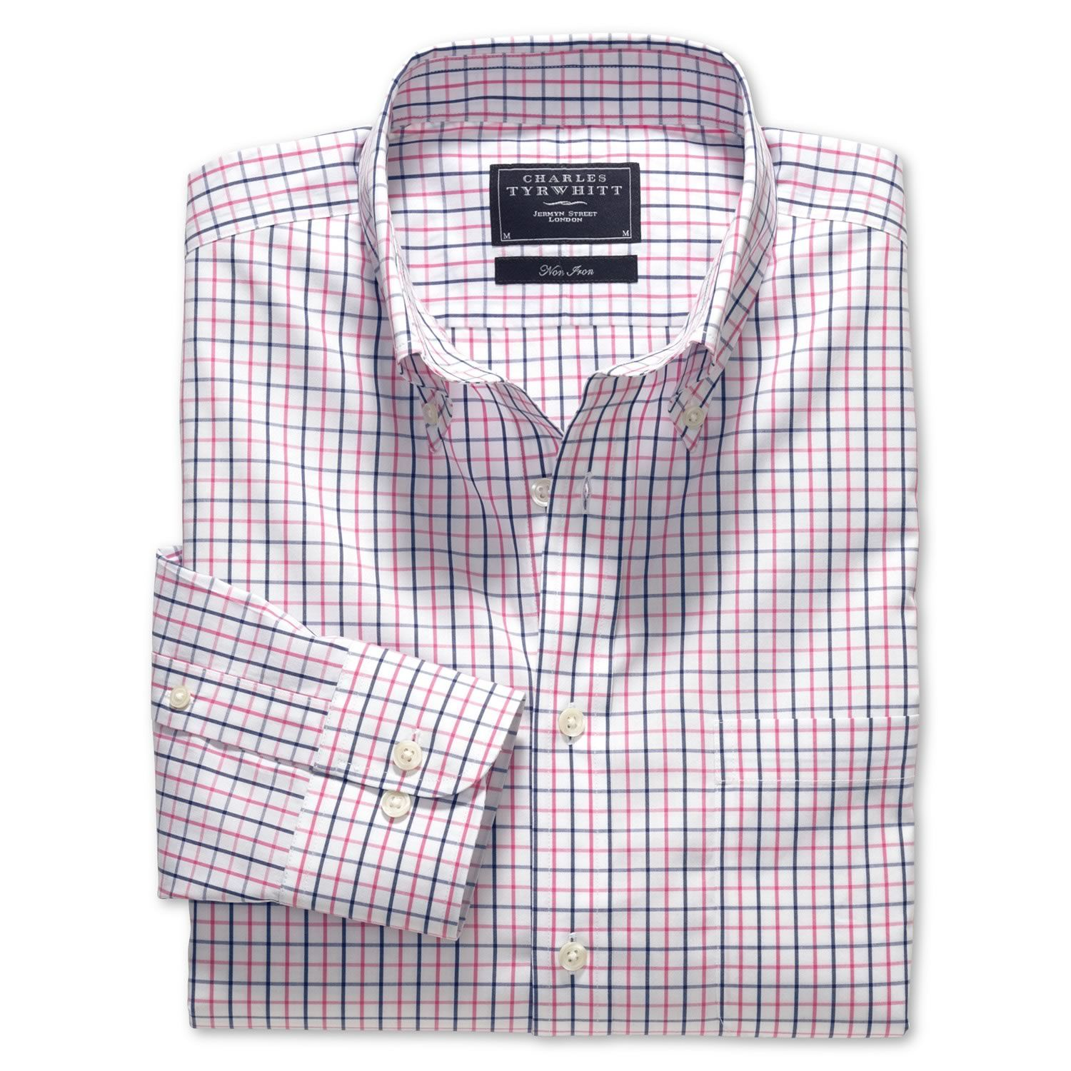 Blue & pink tattersall check non-iron classic fit shirt | Classic ...
