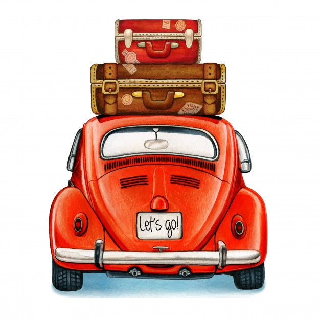 Watercolor Shiny Vintage Car With Luggage Back View