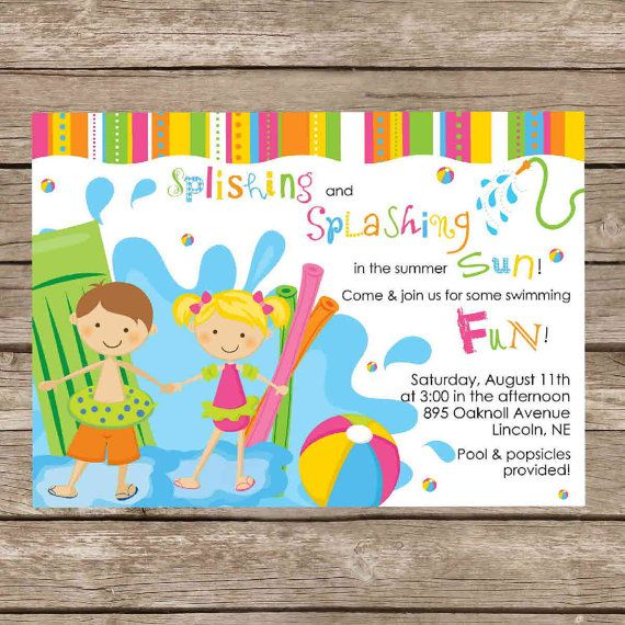 Printable Boy Or Girl Both Birthday Pool Party Invitation