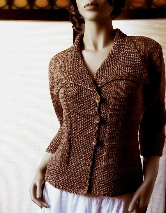 Knit sweater Chocolate Brown Jacket Cotton or Wool women Shawl ...