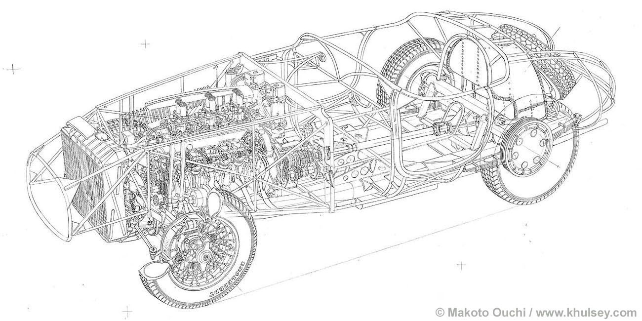 Ferrari 166MM Line Drawings by Makoto Ouchi | Drawings and Maps ...