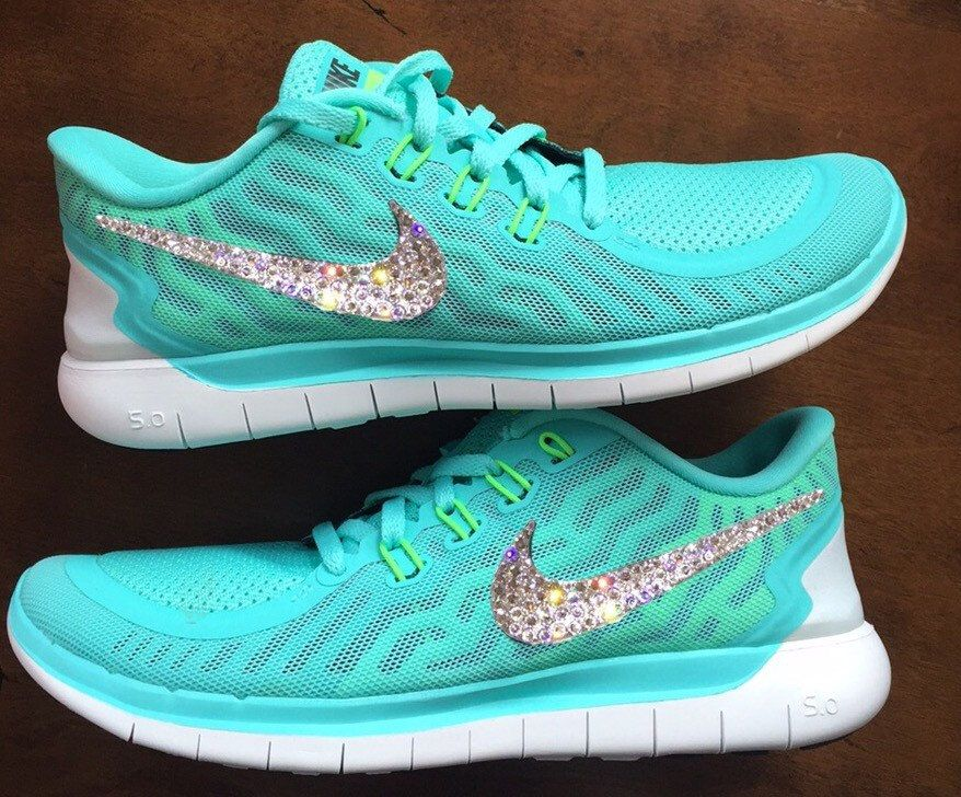 b96e01add6a3 Swarovski Bling Nike Free 5.0 Teal Neon by GoldHomeCouture on Etsy ...