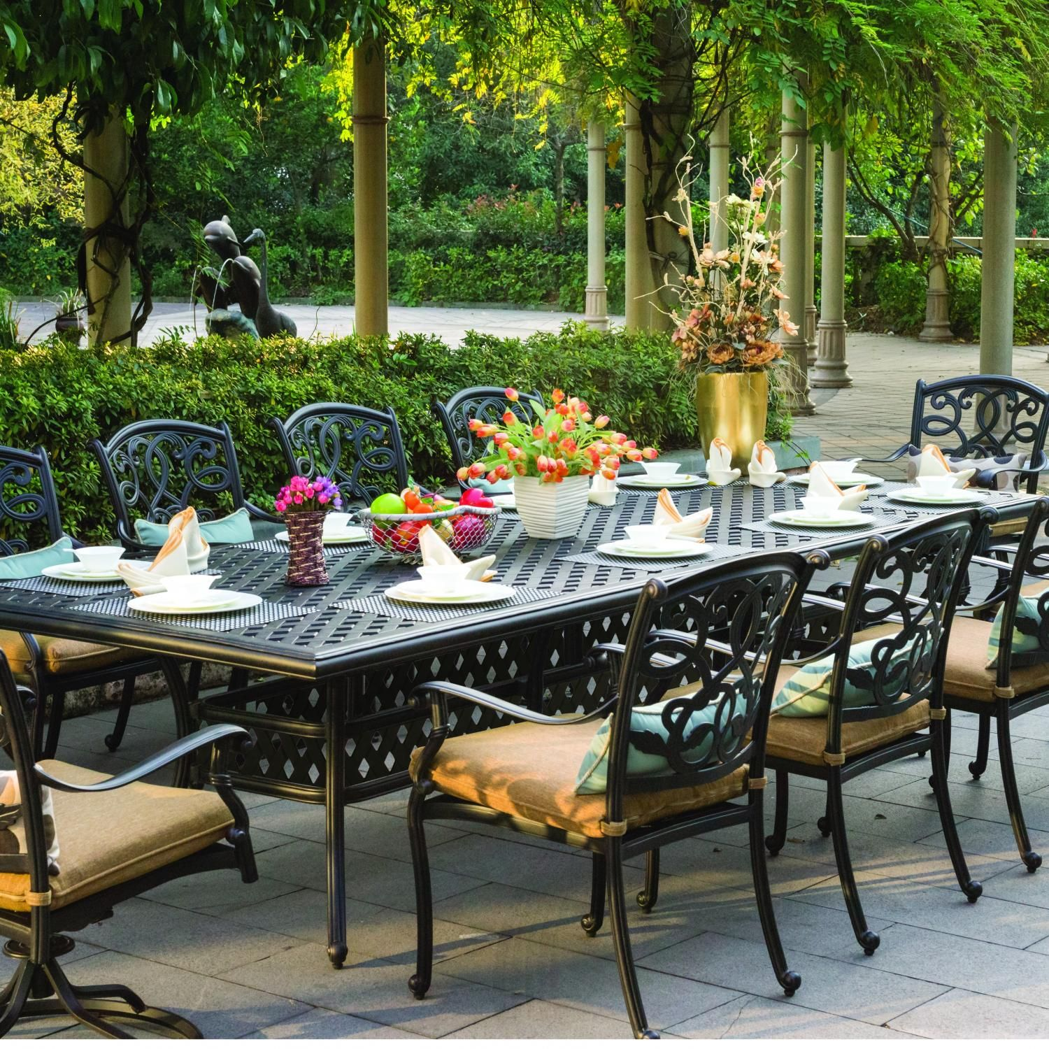 Darlee Santa Monica 10 Person Cast Aluminum Patio Dining Set Available At Ultimate  Patio.