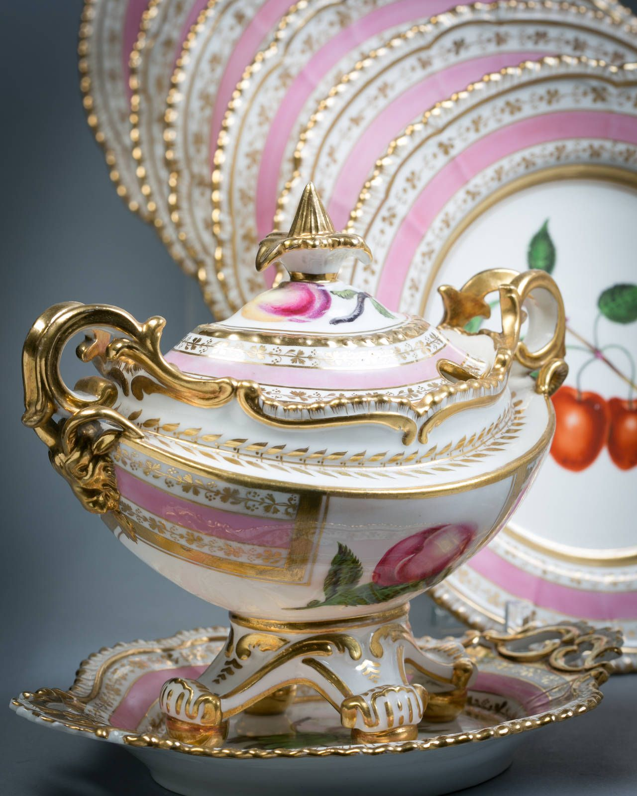 English Porcelain Fruit Service, Chamberlain Worcester, c